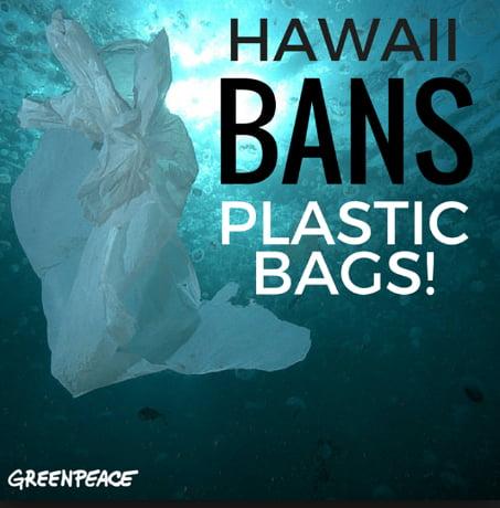 imagem de anúncio informando que Havaí baniu sacolas de plástico