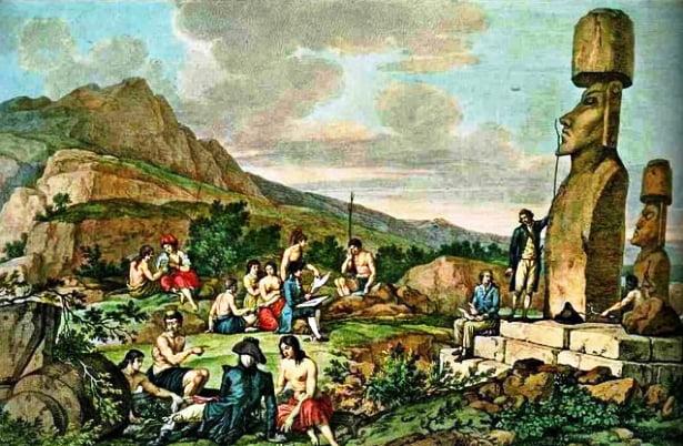 Gravura alusiva à estadia de James Cook na ilha de Páscoa