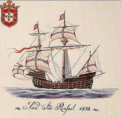 desenho da nau S. Rafael, de vasco da gama, que originou as caravelas portuguesas