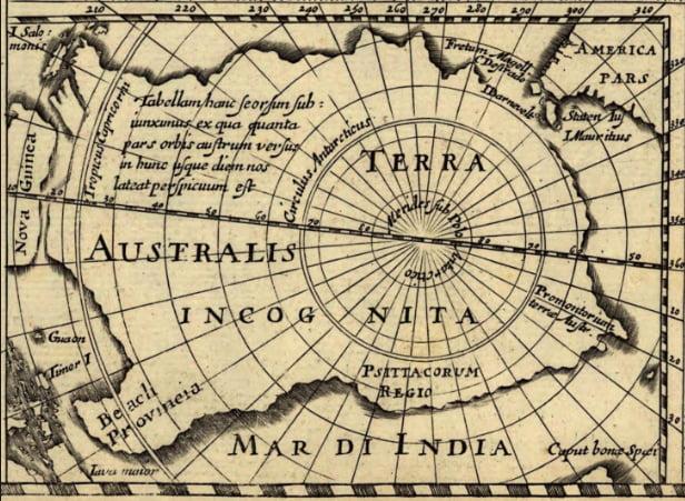 imagem de mapa da Antártica, Terra incógnita