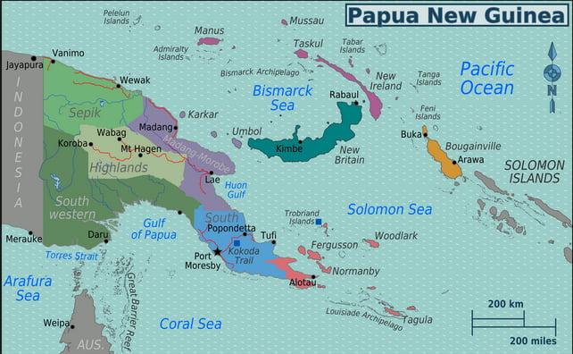 mapa com localização do arquipélago Bismarck