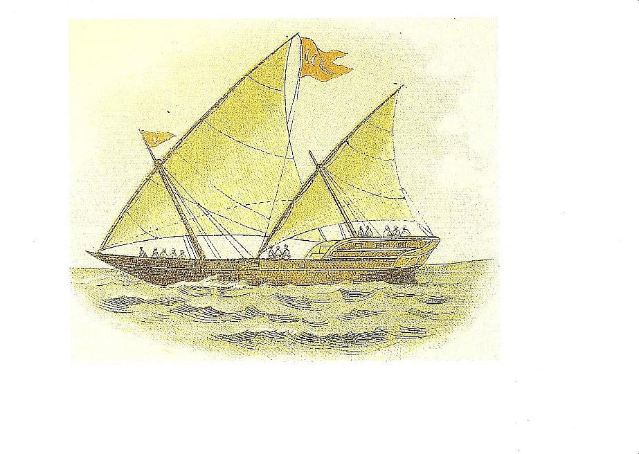desenho de um cárabo, barco mouro que inspirou as caravelas