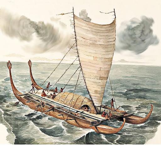desenho de canoa oceanica usada na ilha de Páscoa
