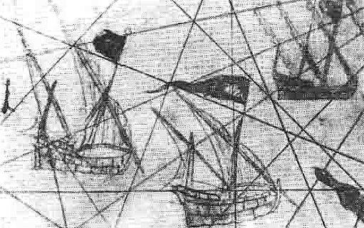 imagem das caravelas portuguesas, em mapa de Juan de la Cosa