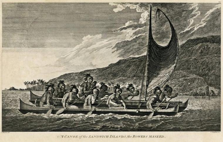 desenho de Canoa oceânica da ilha de Páscoa