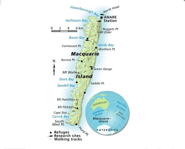 mapa dia ilha Macquarie