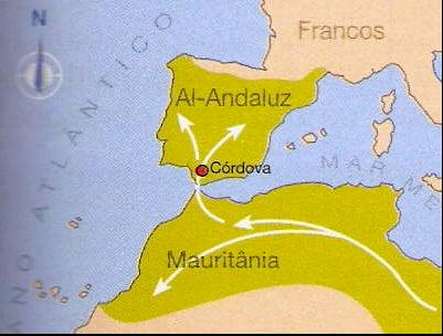 imagem de mapa com invasão moura na península ibérica