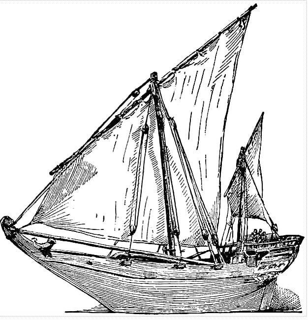 ilustração do pangaio, barco indiano que influenciou as caravelas