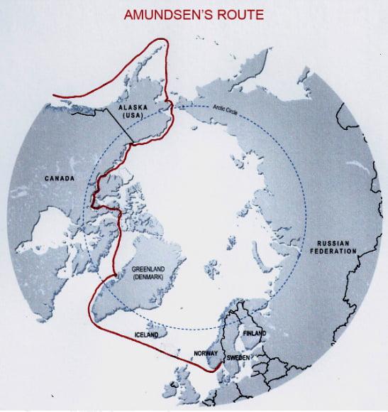 imagem de mapa com a rota de roald amundsen