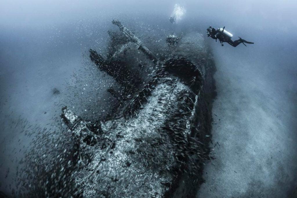 foto submarina de um U - 352 alemão naufragado