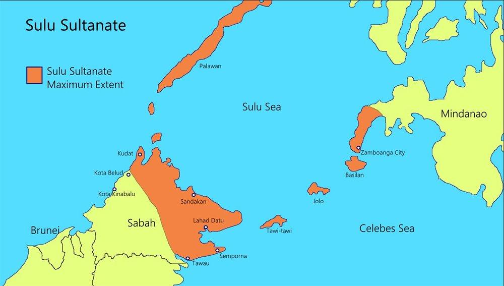 mapa do arquipélago Sulu onde vive o povo de Bajau