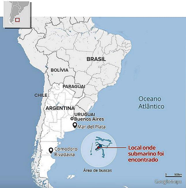 mapa com a localização do submarino desaparecido