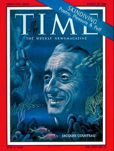 imagem da capa da revista Time com Jacques Cousteau