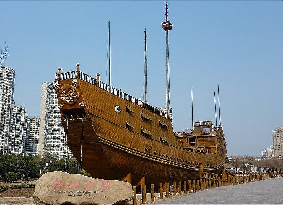 imagem de navios do tesouro reconstruído no período da China potência marítima