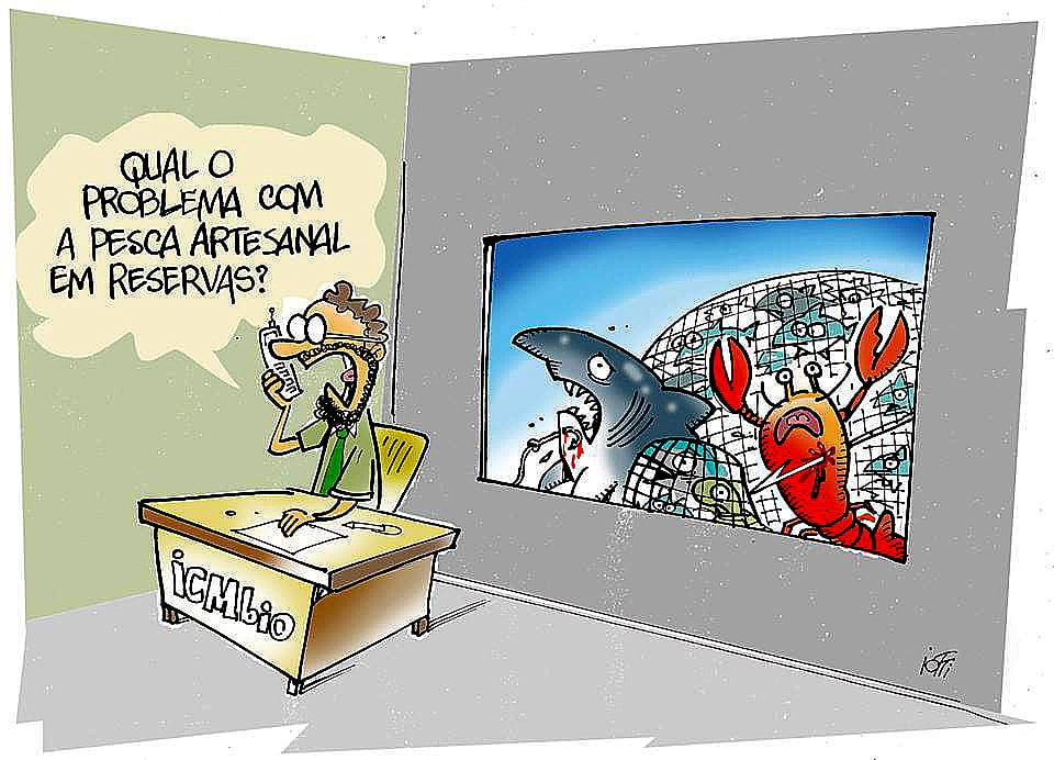 Imagem de grafiti ridicularizando a questão ICMBio e Abrolhos