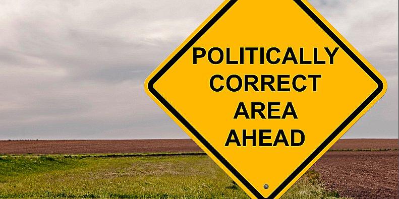 ilustração de placa políticamente correto