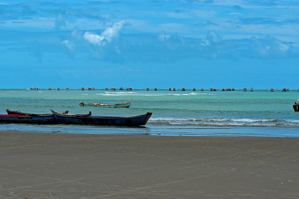 imagem da frota de arrasto da praia do Peba