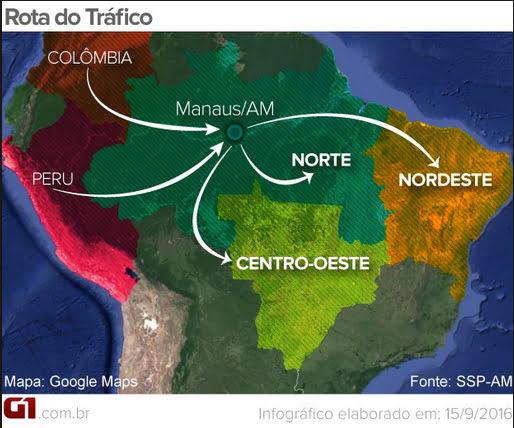 ilustração de mapa da rota do tráfico de drogas entre América do sul, África e Europa