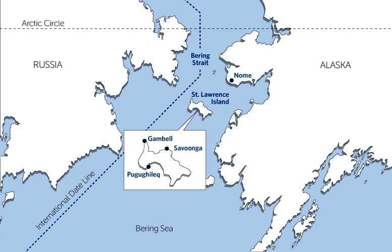 mapa de St Lawrence Island, onde Aves marinhas do Alasca mortas foram achadas