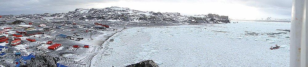 imagem da baía Fildes coberta de gelo