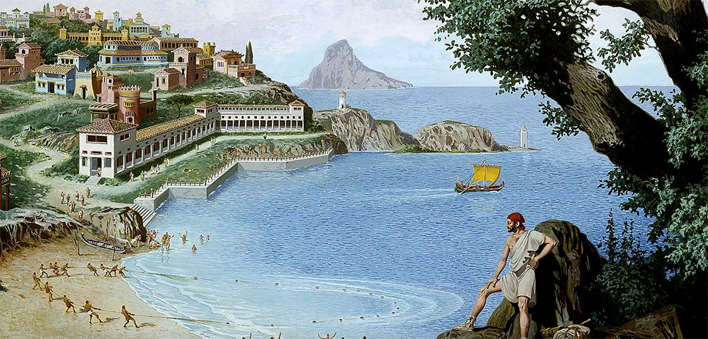 ilustração de fazenda de pesca romana