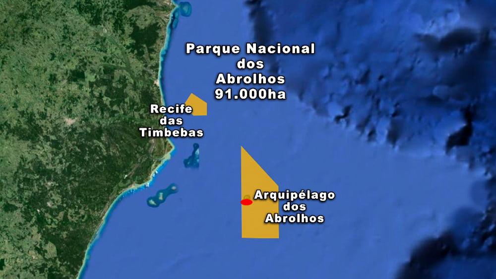 imagem de mapa do arquipélago dos abrolhos