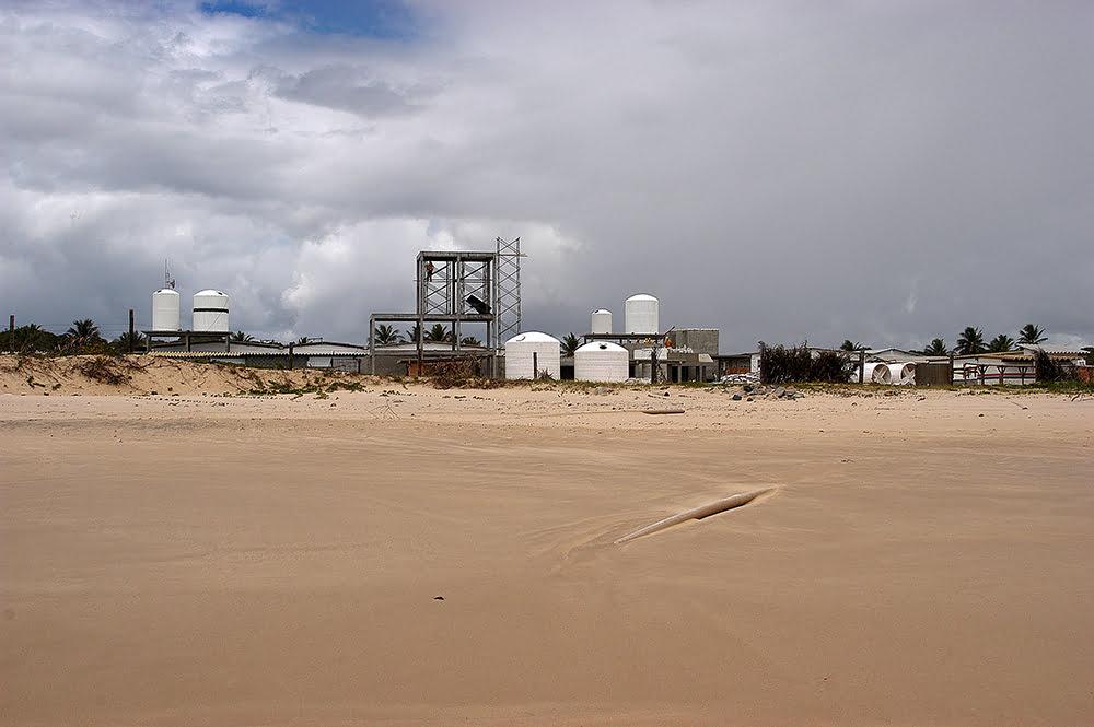 Imagem da fazenda de camarões da Lusomar, no litoral da bahia