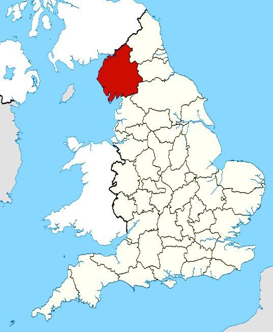 mapa da Cumbria, inglaterra, onde fica o maior parque eólico marítimo do mundo