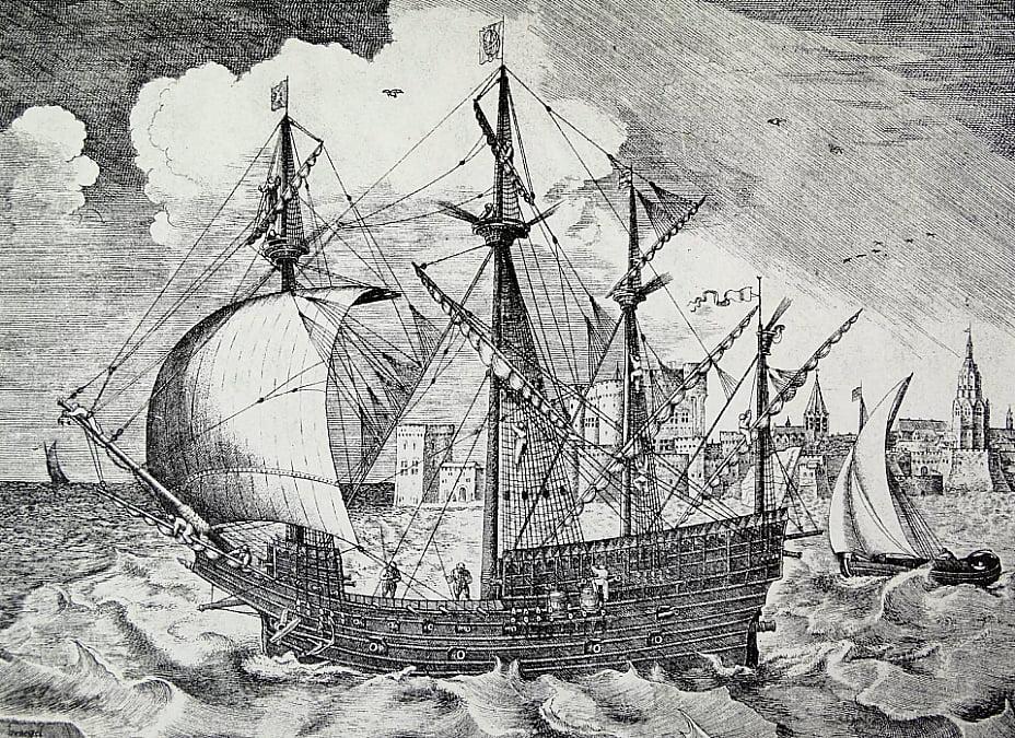 desenho de navio naufragado de 400 anos