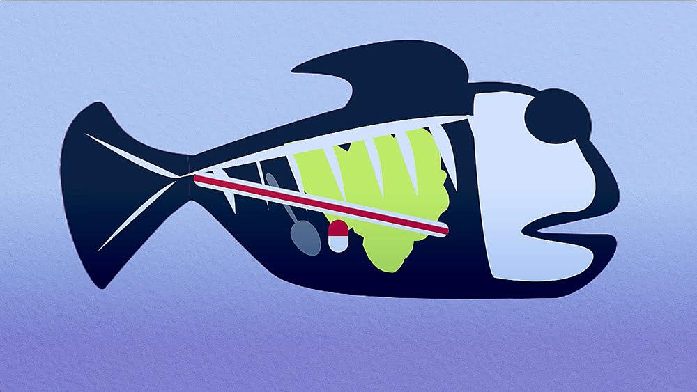 Ilustração de peixe com estômago cheio de plástico
