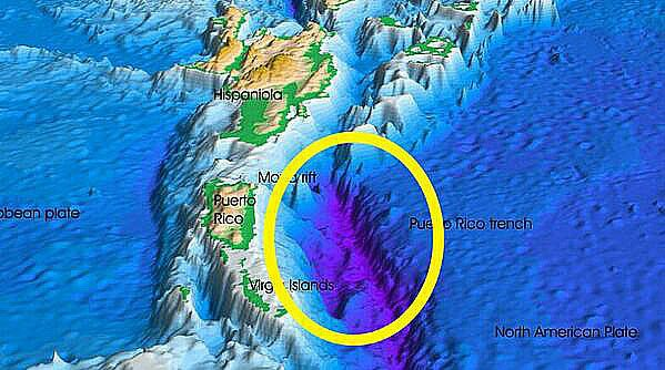 imagem de mapa mostrando a fossa de Porto Rico