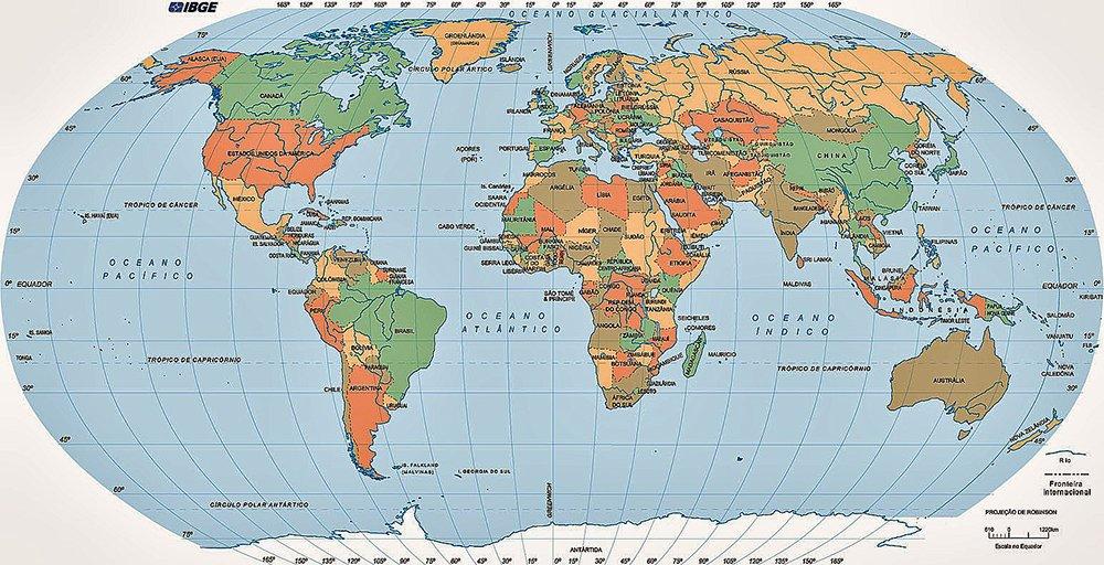imagem de mapa mundi ressaltando a importância do mar para a riqueza das nações