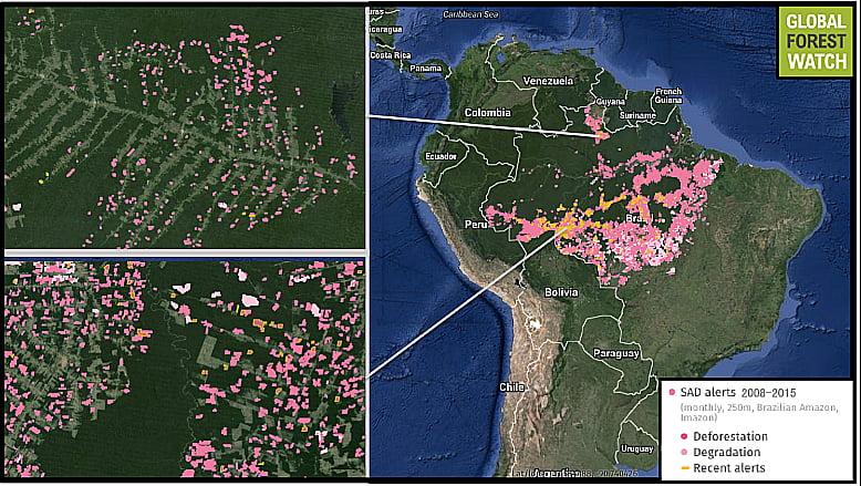 imagem de mapa com desmatamento da amazônia