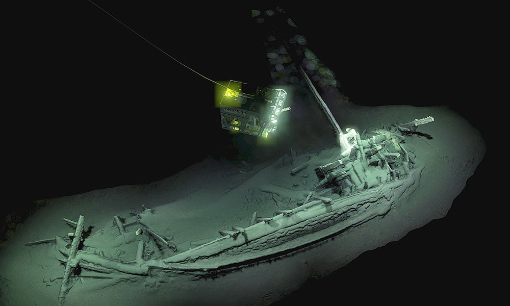 imagem do mais antigo naufrágio intacto