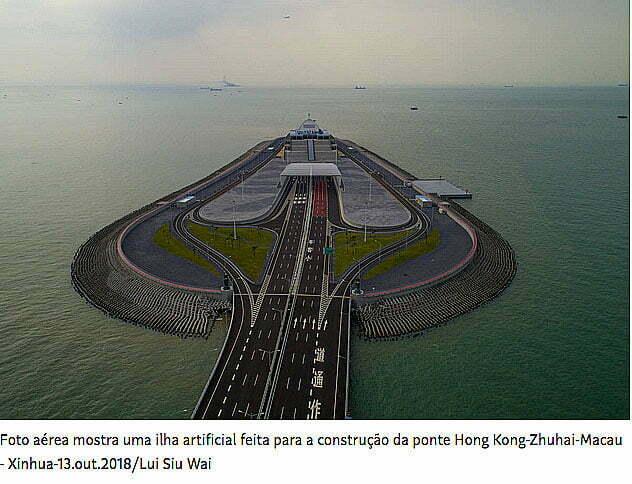 imagem de ilha artificial construída para a Ponte Hong Kong- Zuhai- Macau
