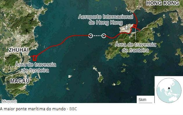 imagem de mapa da localização da Ponte Hong Kong- Zuhai- Macau