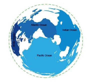 imagem de mapa mundi mostrando oceanos