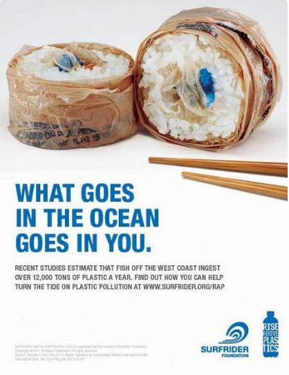 imagem de propaganda mostrando plástico no mar e na cadeia alimentar