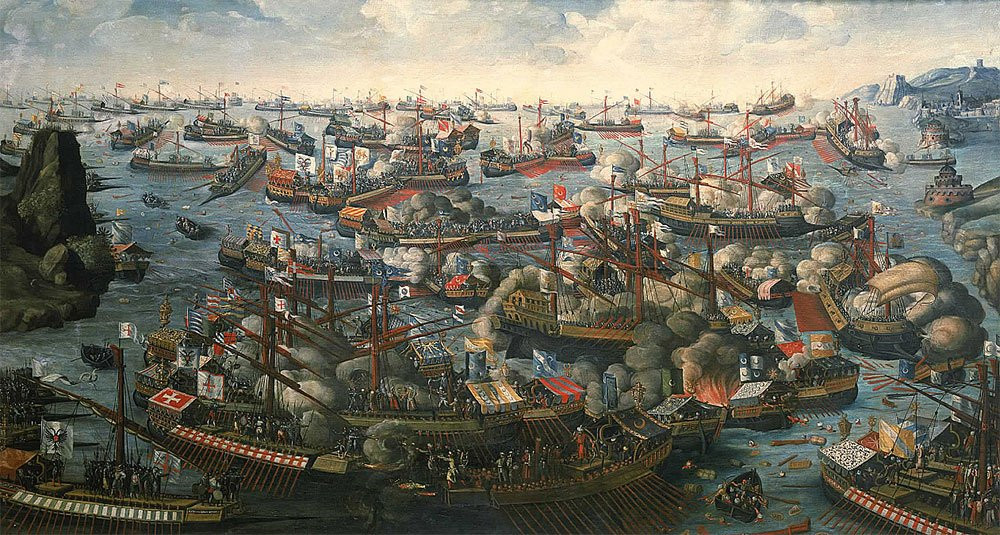 ilustração da batalha de Lepanto entre Veneza e otomanos