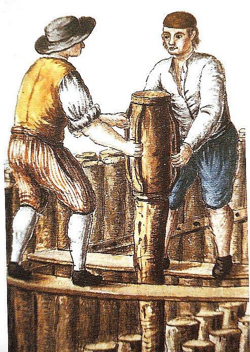 ilustração mostrando operários colocando estacas para construir em Veneza