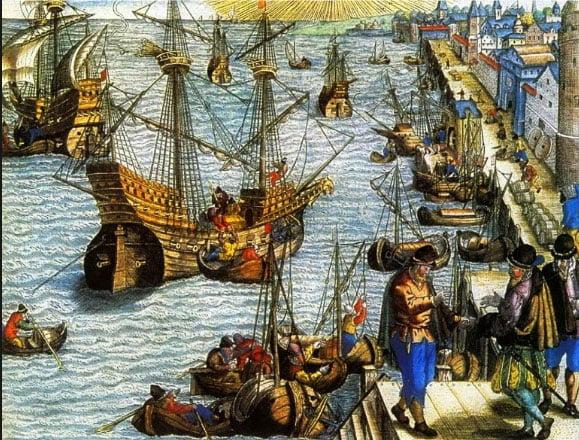 gravura do porto de Lisboa em 1505