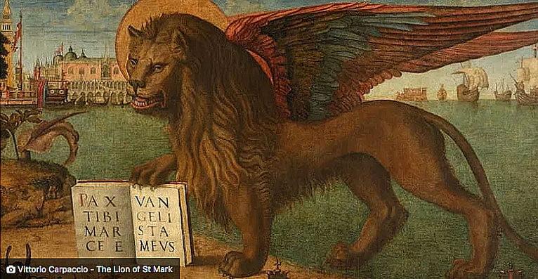 ilustrações de um leão, símbolo de Veneza