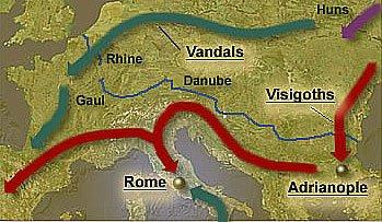 mapa de ataques bárbaros a Roma