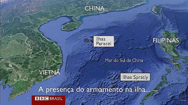 mapa do mar do sul da china local de construção de ilhas artificiais