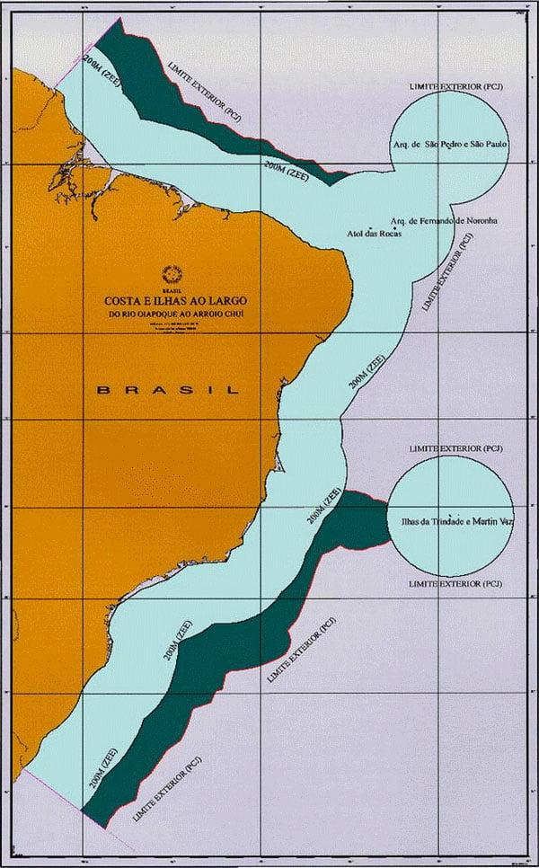 ilustração da plataforma continental brasileira