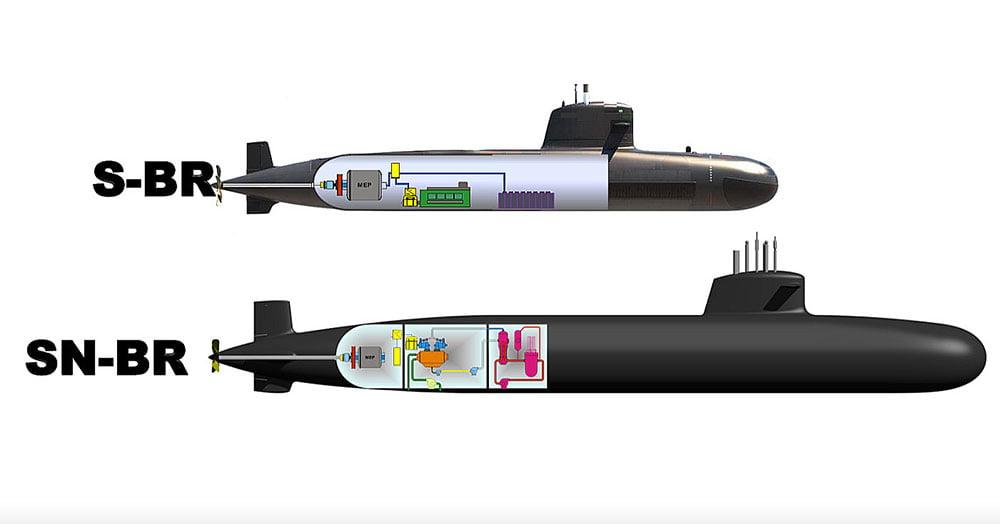 ilustração de dois tipos de submarinos construídos pela marinha do Brasil