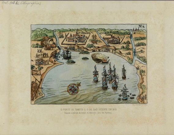 gravura de Santos e São Vicente em 1615.