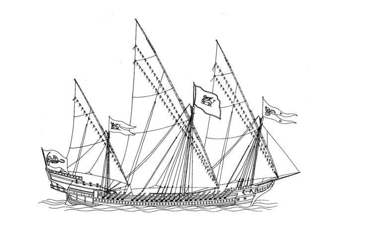 desenho de galeras de três mastros de Veneza