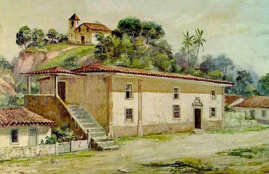 aquarela da Casa do Trem e ao fundo a antiga capela de Santa Catarina