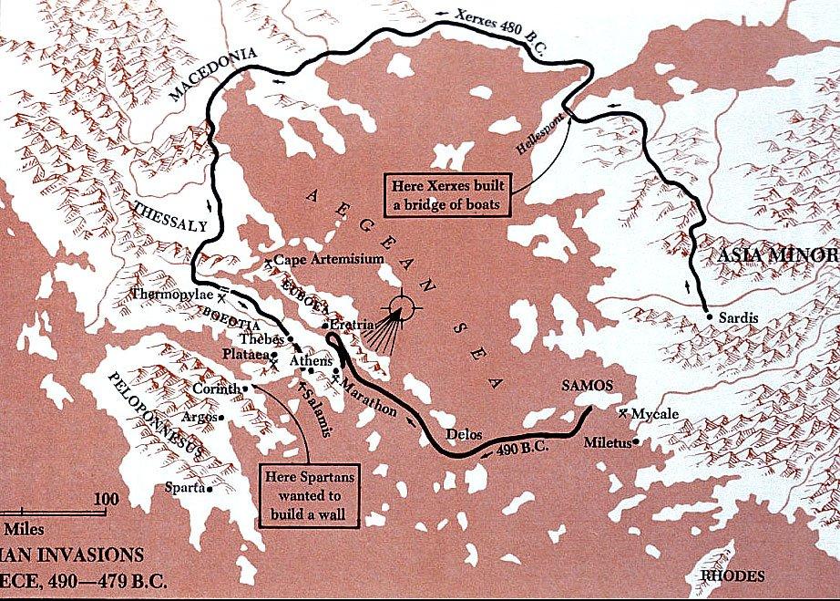 ilustração de Cenário da batalha de Salamina.